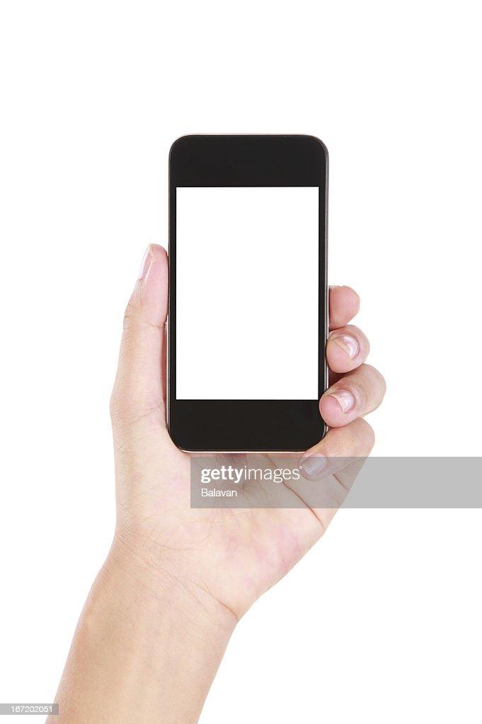Hand holding leere smartphone auf weißem Hintergrund : Stock-Foto