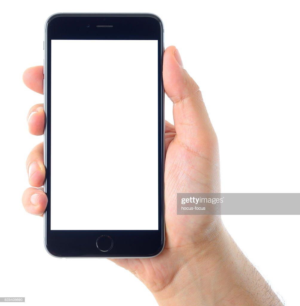 Hand holding blank white screen iPhone 6 Plus : Stock Photo