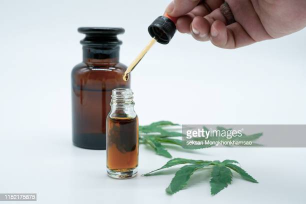 hand holding bottle of cannabis oil in pipette isolated on white - cannabis oil stock photos and pictures