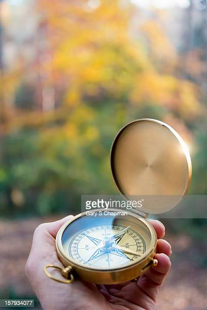 Hand holding compass in fall colors