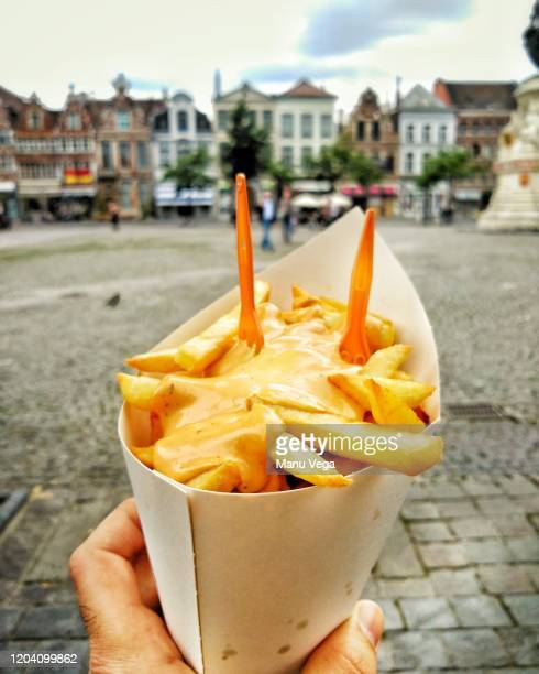 hand holding delicious french fries on close up side view - stock photo - belgium stock pictures, royalty-free photos & images