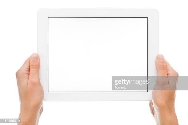 Mano agarrando tableta Digital
