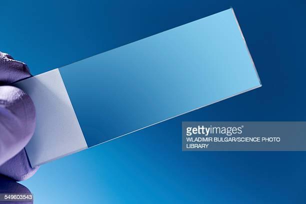 Hand holding empty microscopy slide
