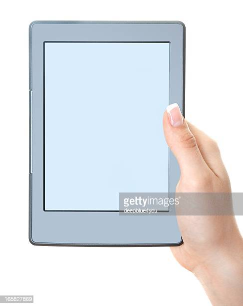 hand holding generic empty Ebook reader isolated