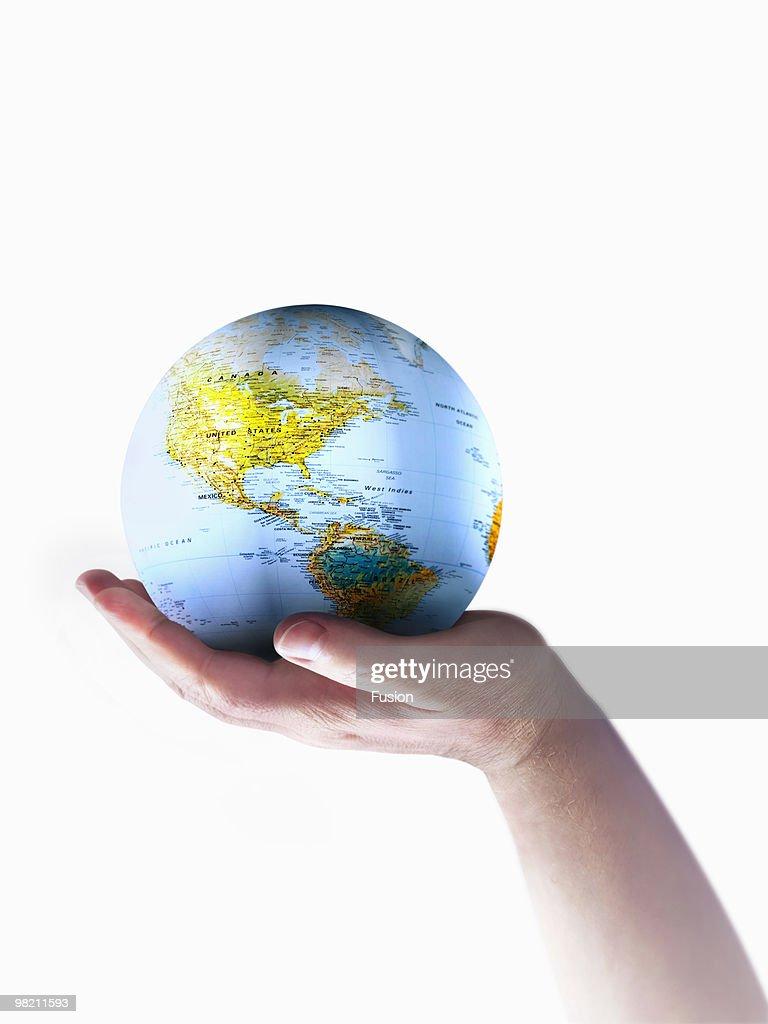 Hand Holding Globe Of Earth : Stock Photo