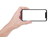 hand holding horizontal the black smartphone with white screen.