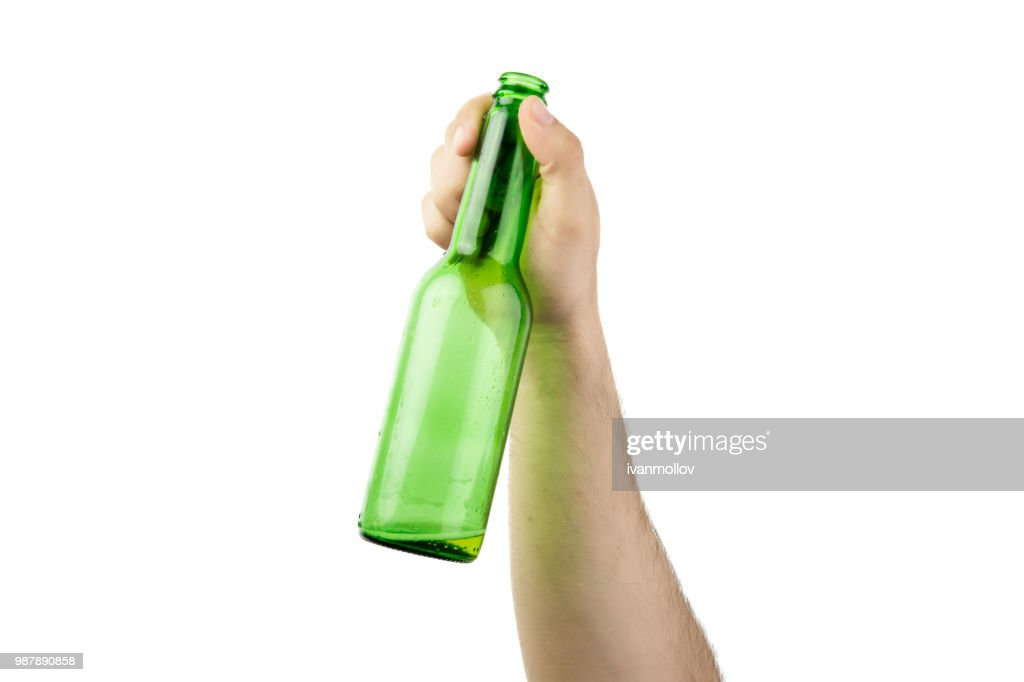 Hand Holding Ice Cold Wet Green Beer Bottle Isolated On White  Background : Stock Photo