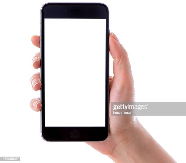 Hand holding iPhone 6 Plus on white background