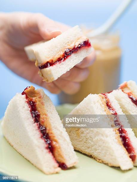 Hand holding jelly sandwich with Peanut butter, close up