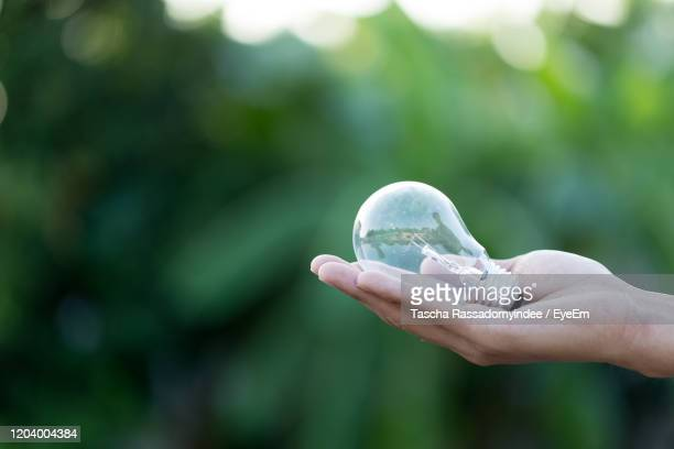 hand holding light bulb,energy sources for renewable,natural energy concept. - earth day stock pictures, royalty-free photos & images