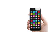 Hand holding mobile smart phone, with mobile app on screen, isolated on white background