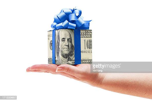 Hand Holding Money Cash Gift with Blue Bow on White
