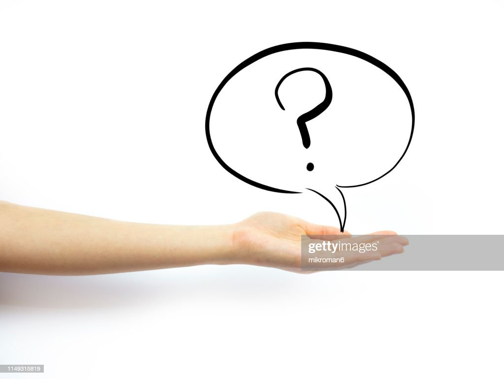 Hand holding out palm straight with speech bubble with question mark : Stock Photo