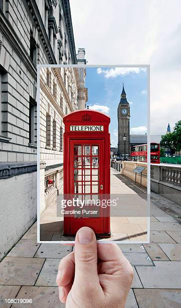 Hand holding postcard of red phone booth & Big Ben
