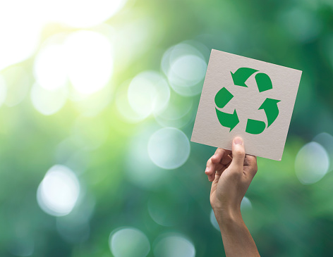 Hand holding recycle symbol on green bokeh background. eco and save the earth concept. 1023963786