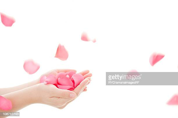 Hand holding rose petals and petals blowing in wind