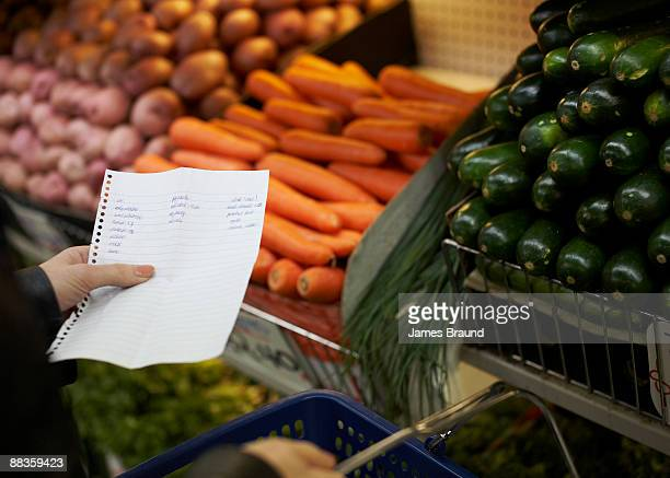 Hand holding shopping list in market