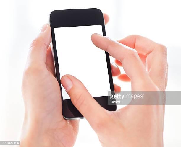 Hand halten Smartphone mit leeren Bildschirm