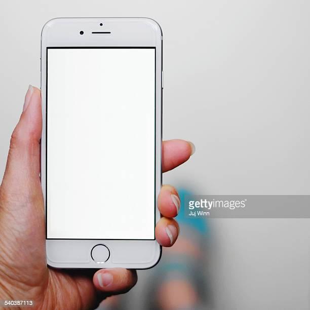 Hand Holding Smartphone Blank Screen