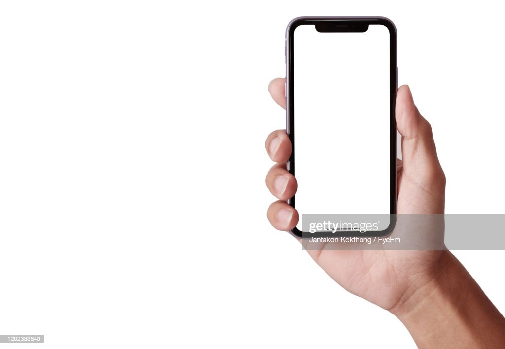 Hand Holding Smartphone Iphone 11 : Stockfoto
