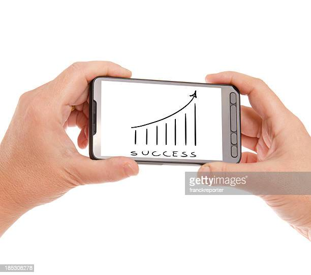 Hand holding Smartphones with finance graph on the screen