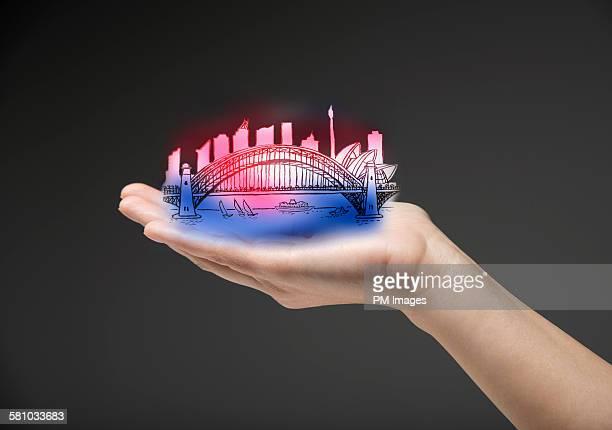 Hand holding Sydney Australia