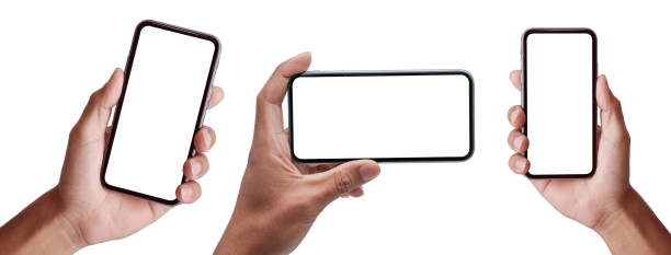 hand holding the black smartphoneand modern frameless design set in rotated positions clipping path - human hand stock pictures, royalty-free photos & images