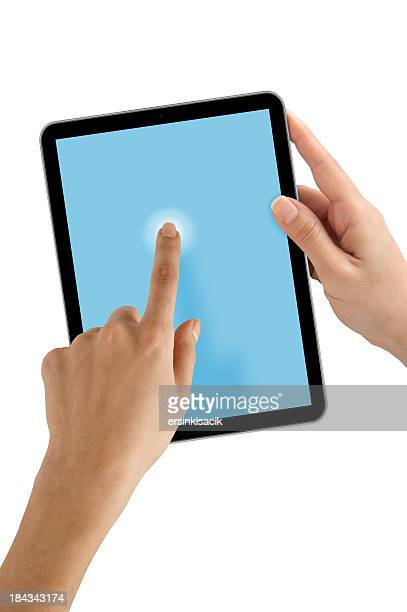 Hand, die Tablet PC-Bildschirm berühren