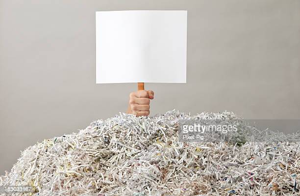 Hand holding up Blank Sign under Mountain of Shredded Paper