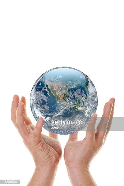 hand holding up globe - world at your fingertips stock pictures, royalty-free photos & images