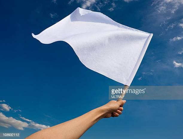 Hand holding white flag
