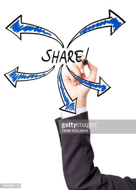 Hand illustrating the concept of sharing