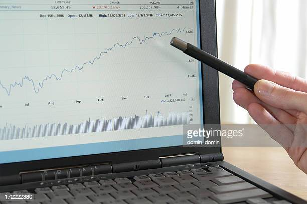 Hand is pointing up going graph on the laptop screen