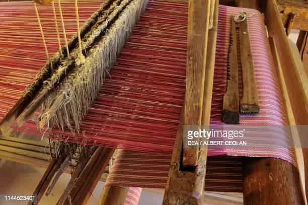 Hand loom weaver Ethnographic Museum San Michele all'Adige TrentinoAlto Adige Italy Detail