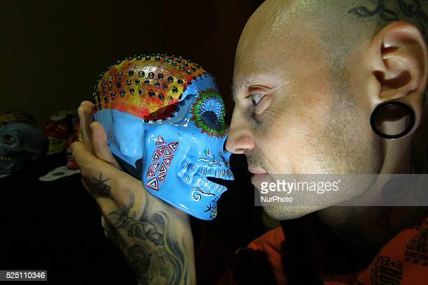 Hand made and painted skulls are displayed during an unique skull exhibition in the town of Varna northeast of the Bulgarian capital Sofia Wednesday...