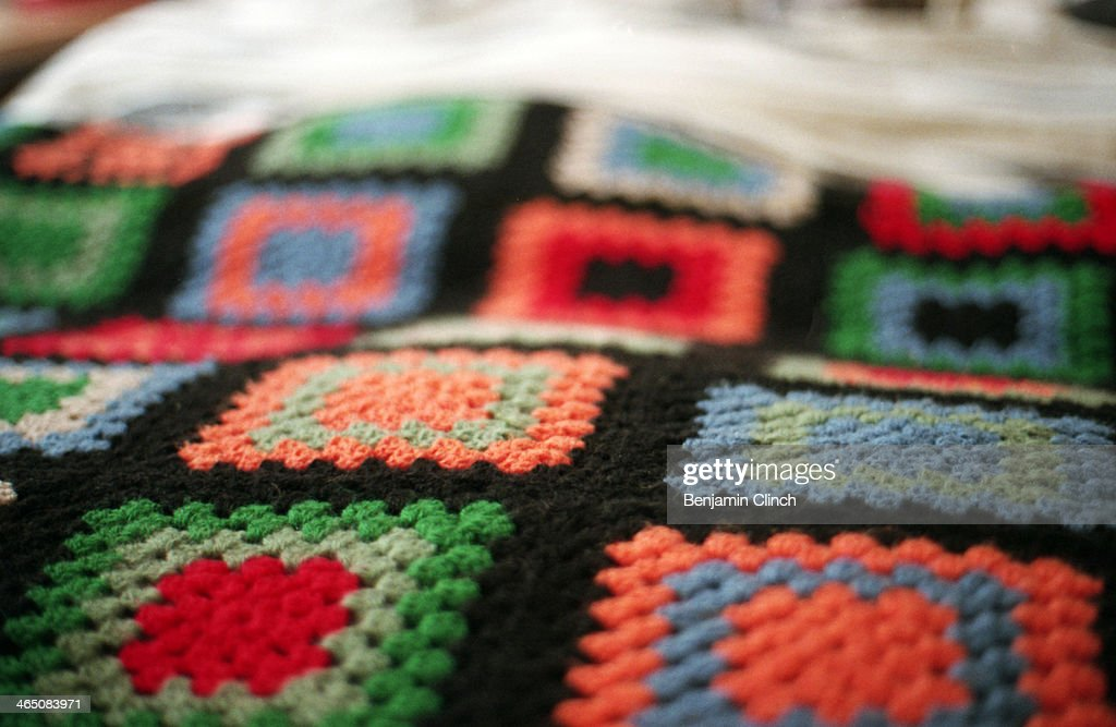 Hand made crochet blanket : Stock Photo