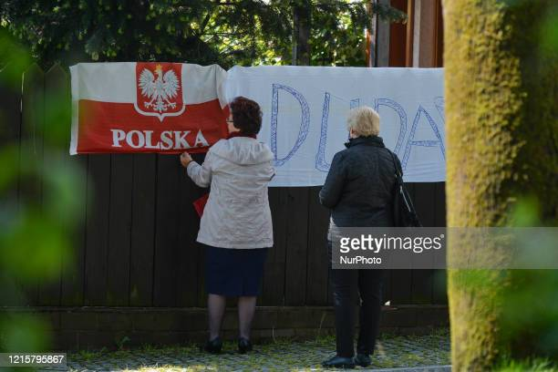 A hand made election poster of Andrzej Duda the current President of Poland and a candidate for the Presidential Election 2020 seen in Alwernia On...
