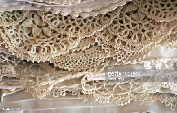 hand made laces - frilly stock photos and pictures