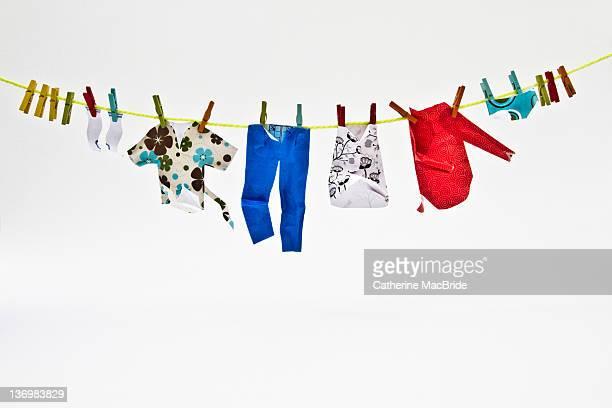 hand made miniature paper clothes - catherine macbride stock-fotos und bilder