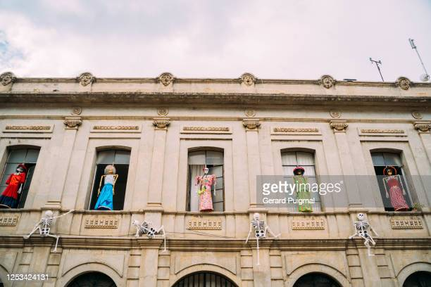 """hand made papier mache human skeletons hanging on windows to celebrate day of the dead - """"gerard puigmal"""" stock pictures, royalty-free photos & images"""