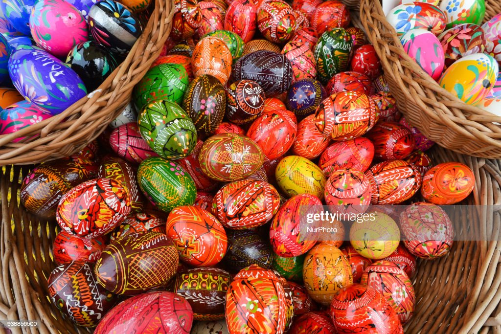 Easter market in poland hand made traditional hand painted easter eggs polish pisanki and baskets on display negle Images