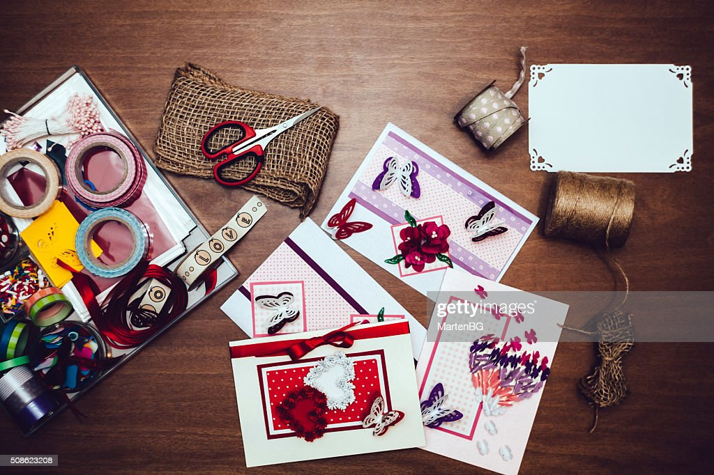 Hand Made Valentine`s Day cards : Stock Photo