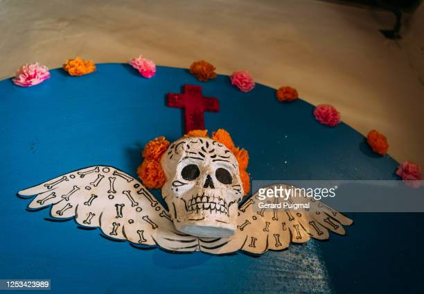 """hand made wall grave with papier mache with skulls and flowers to celebrate day of the dead - """"gerard puigmal"""" stock pictures, royalty-free photos & images"""