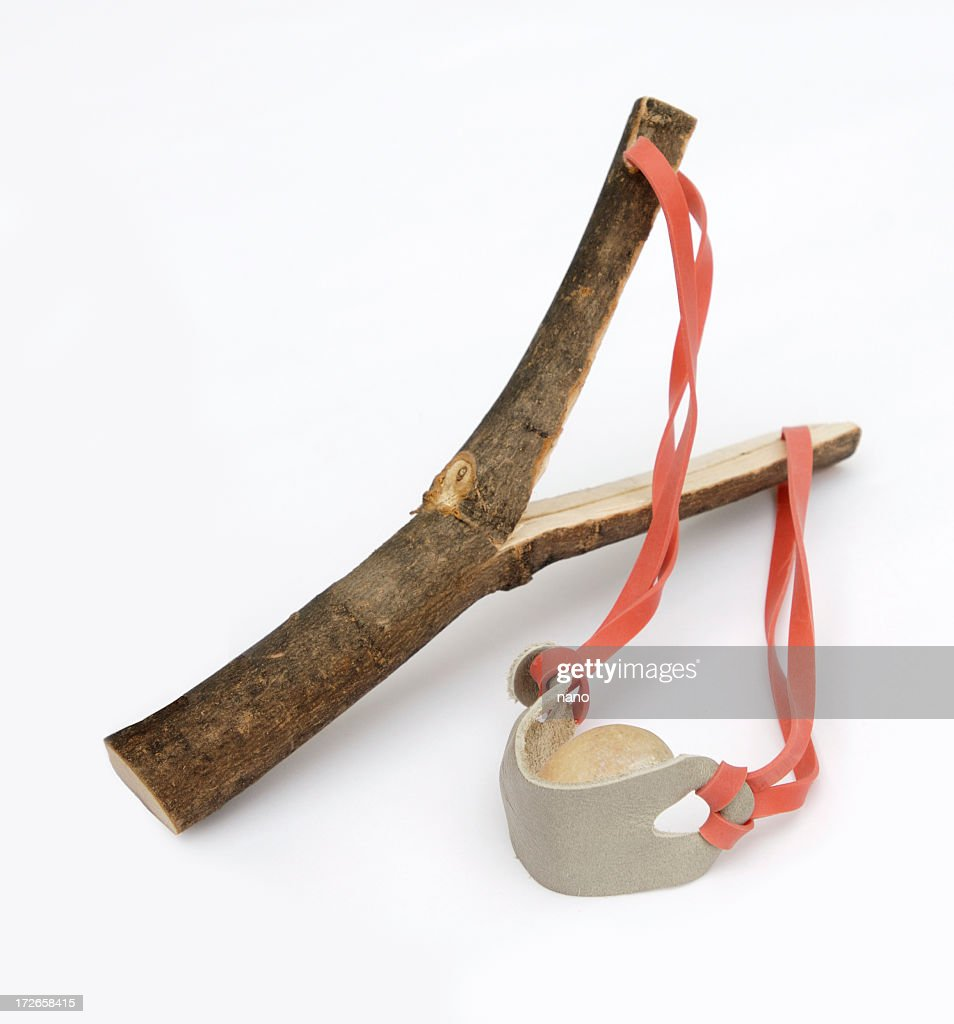 A hand made wooden empty slingshot : Stock Photo