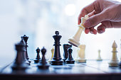Hand moving the king in chess game