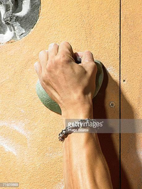 Hand of a rock climber