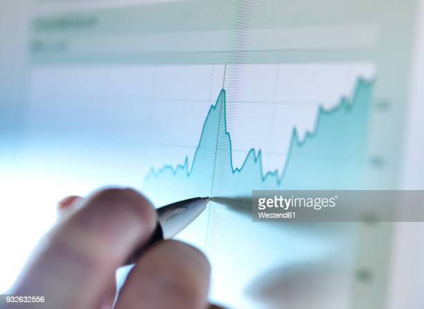 hand of a stock broker analysing line graph on computer screen - effectiviteit stockfoto's en -beelden