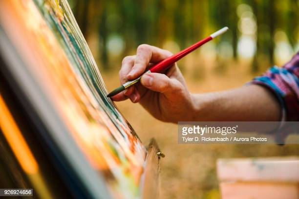 hand of adult woman painting on easel with watercolors, neenah, wisconsin, usa - artist stock pictures, royalty-free photos & images