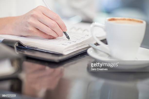 Hand of business person writing into diary