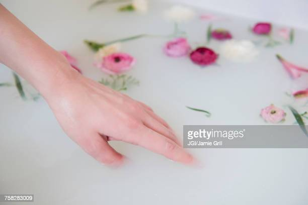 Hand of Caucasian woman in milk bath with flowers